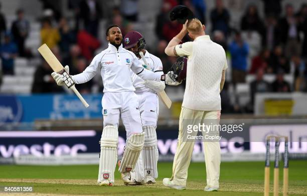 Shai Hope of the West Indies celebrates winning the 2nd Investec Test between England and the West Indies at Headingley on August 29, 2017 in Leeds,...
