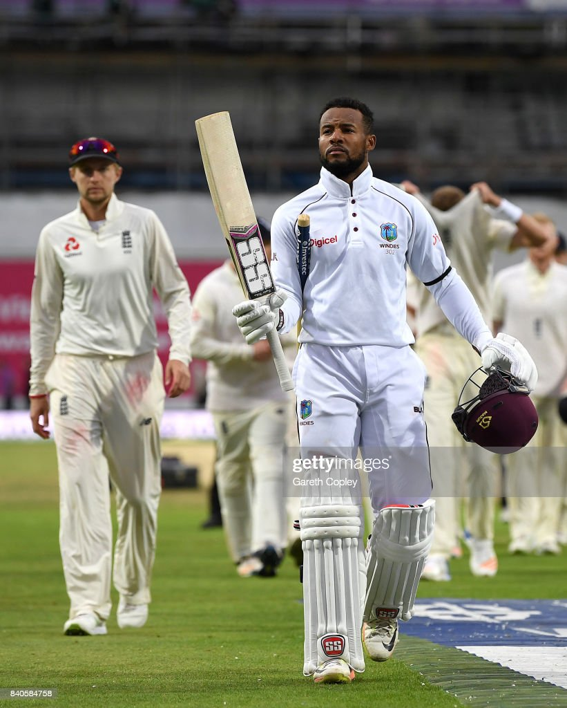 Shai Hope of the West Indies celebrates winning the 2nd Investec Test between England and the West Indies at Headingley on August 29, 2017 in Leeds, England.