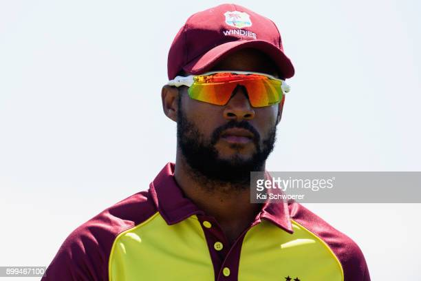 Shai Hope of the West Indies looks on during game one of the Twenty20 series between New Zealand and the West Indies at Saxton Field on December 29...