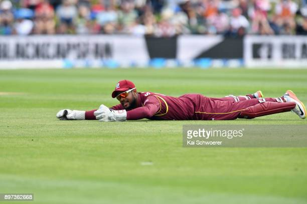 Shai Hope of the West Indies reacts after missing a catch during the One Day International match between New Zealand and the West Indies at Hagley...
