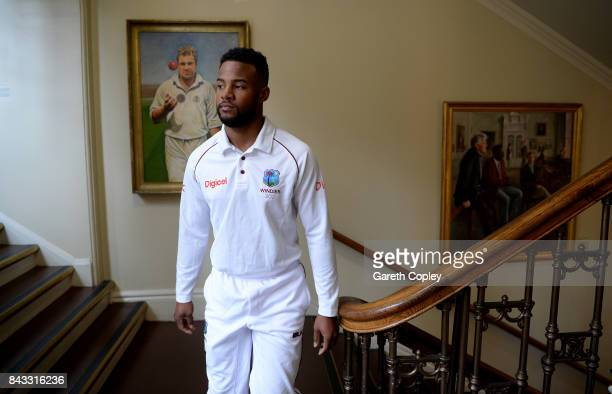 Shai Hope of the West Indies walks through the pavilion ahead of a nets session at Lord's Cricket Ground on September 6 2017 in London England