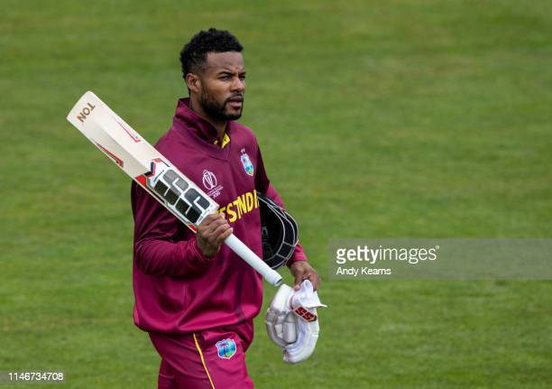 Shai Hope of West Indies acknowledges the applause the end of his innings of 101 runs during the ICC Cricket World Cup 2019 Warm Up match between...