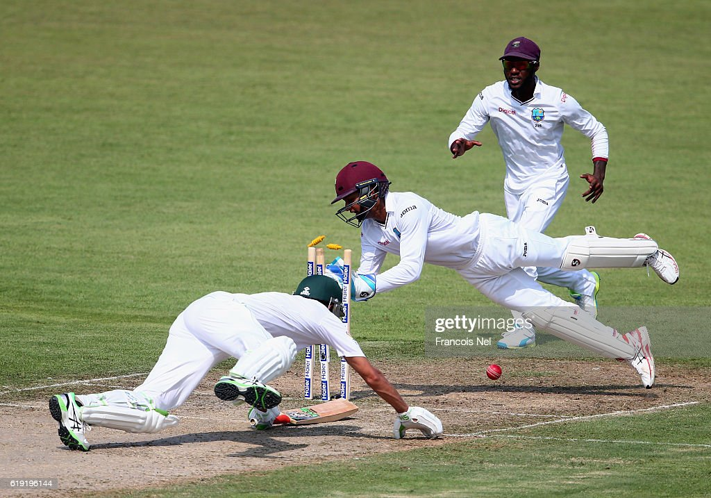 Shai Hope of West Indies attempts to stump Younis Khan of Pakistan during Day One of the Third Test between Pakistan and West Indies at Sharjah Cricket Stadium on October 30, 2016 in Sharjah, United Arab Emirates.