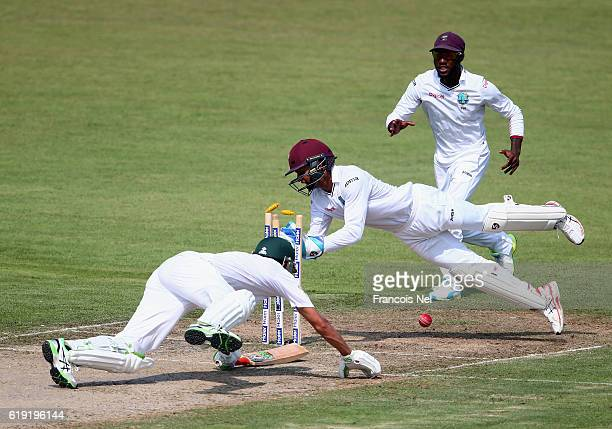 Shai Hope of West Indies attempts to stump Younis Khan of Pakistan during Day One of the Third Test between Pakistan and West Indies at Sharjah...