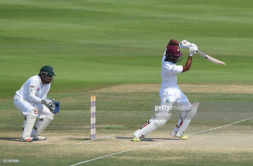 Shai Hope of West Indies bats during Day Five of the Second Test between Pakistan and West Indies at Zayed Cricket Stadium on October 25, 2016 in Abu Dhabi, United Arab Emirates.