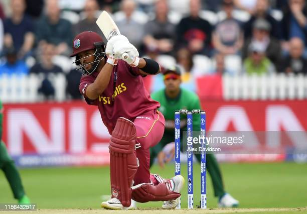 Shai Hope of West Indies bats during the Group Stage match of the ICC Cricket World Cup 2019 between West Indies and Bangladesh at The County Ground...