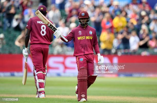 Shai Hope of West Indies celebrates his century during the ICC Cricket World Cup 2019 Warm Up match between West Indies and New Zealand at Bristol...