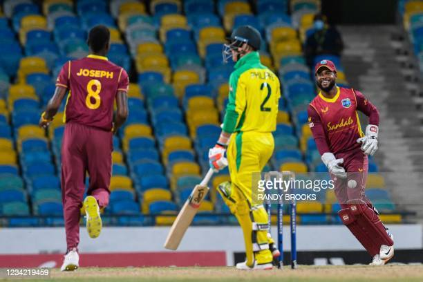 Shai Hope of West Indies celebrates taking the catch to dismiss Josh Philippe of Australia during the 3rd and final ODI between West Indies and...