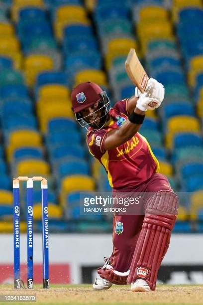 Shai Hope of West Indies hits 4 during the 2nd ODI between West Indies and Australia at Kensington Oval, Bridgetown, Barbados, on July 24, 2021.