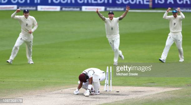 Shai Hope of West Indies is bowled by Stuart Broad of England during Day Five of the 2nd Test Match in the #RaiseTheBat Series between England and...