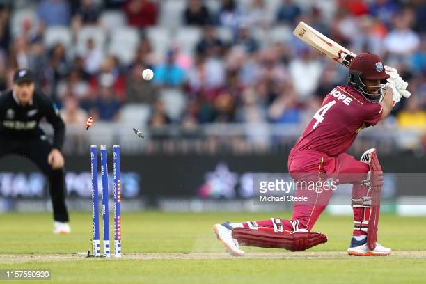 Shai Hope of West Indies is bowled by Trent Boult of New Zealand during the Group Stage match of the ICC Cricket World Cup 2019 between West Indies...