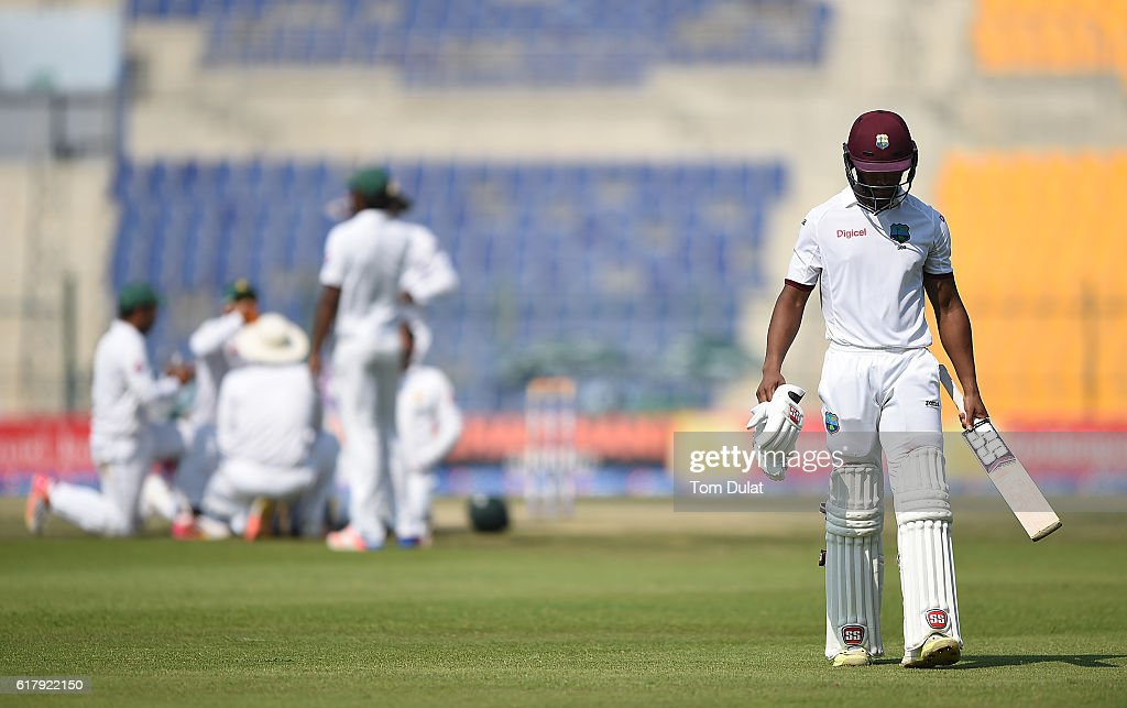 Shai Hope of West Indies leaves after being dismised by Zulfiqar Babar of Pakistan during Day Five of the Second Test between Pakistan and West Indies at Zayed Cricket Stadium on October 25, 2016 in Abu Dhabi, United Arab Emirates.