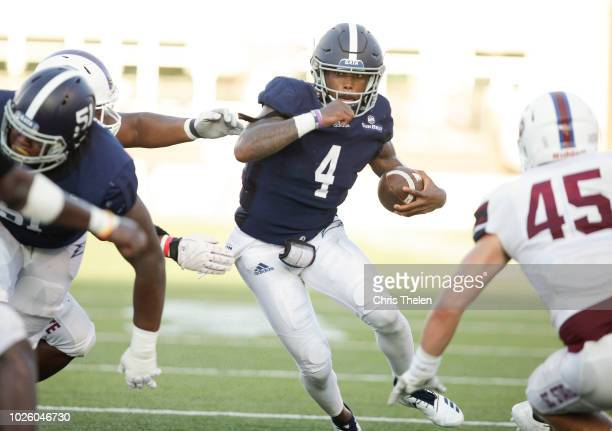 Shai Werts of the Georgia Southern Eagles runs for a big gain during the first quarter of their game against the South Carolina State Bulldogs on...