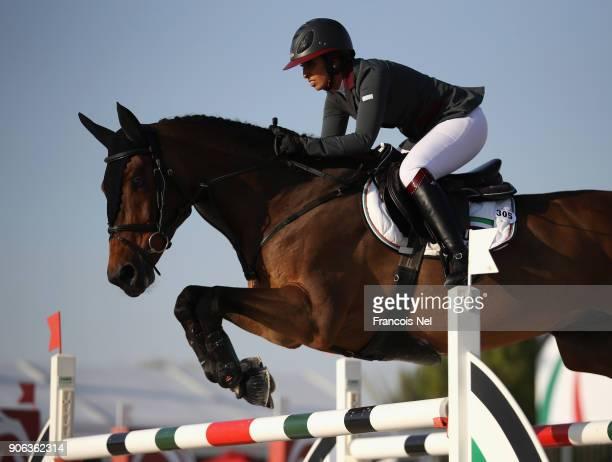 Shaika Latifa Al Maktoum of UAE rides Fabries during the Dubai Show Jumping Championships on January 18 2018 in Dubai United Arab Emirates