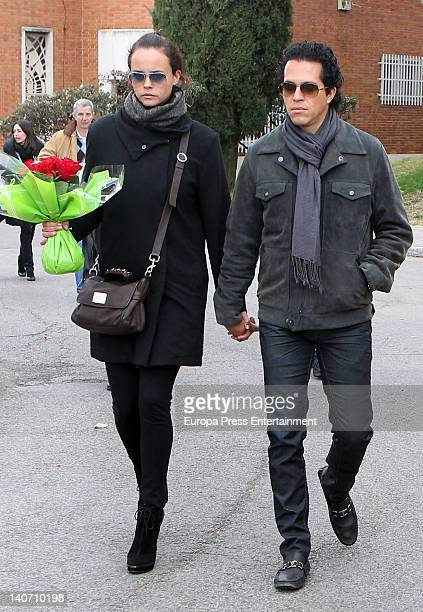 Shaila Durcal and Dorio Ferreira attend the funeral for Carmen Barretto Valdes who died at 97 years old at La Almudena Graveyard on March 4 2012 in...