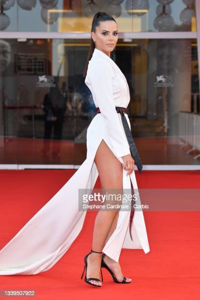 """Shaila Gatta attends the red carpet of the movie """"Un Autre Monde"""" during the 78th Venice International Film Festival on September 10, 2021 in Venice,..."""