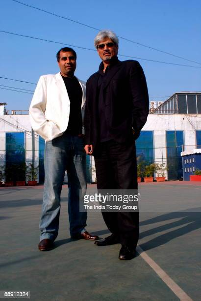 Shailendra Singh Joint Managing Director with Harindra Singh Vice Chairman Managing Director Percept Holdings poses outside office in Mumbai india...
