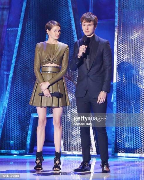 Shailene Woodley and Ansel Elgort speak onstage during the 2014 MTV Movie Awards held at Nokia Theatre LA Live on April 13 2014 in Los Angeles...