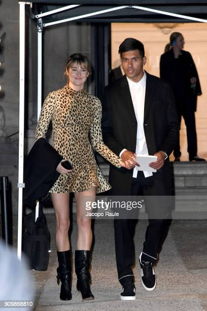 Shailene Woodley and Ben Volavola are seen arriving at Valentino Haute Couture Spring Summer 2018 show as part of Paris Fashion Week on January 24...