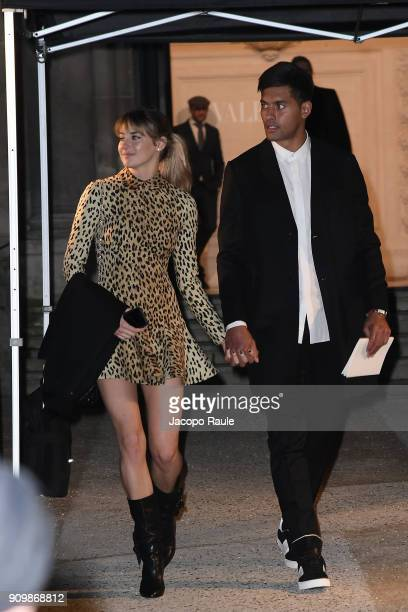 Shailene Woodley and Ben Volavola are seen arriving at Valentino Haute Couture Spring Summer 2018 show as part of Paris Fashion Week on January 24,...
