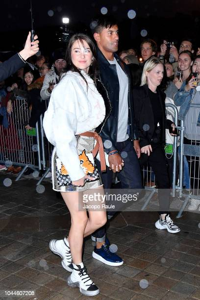 Shailene Woodley and Ben Volavola arrive at Louis Vuitton show as part of the Paris Fashion Week Womenswear Spring/Summer 2019 on October 2 2018 in...
