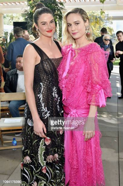 Shailene Woodley and Brie Larson attend JNSQ Rose Cru debuts alongside Rodarte FW/19 Runway Show at Huntington Library on February 5 2019 in Pasadena...