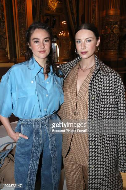 Shailene Woodley and Caitriona Balfe attend the Stella McCartney show as part of the Paris Fashion Week Womenswear Fall/Winter 2020/2021 on March 02,...