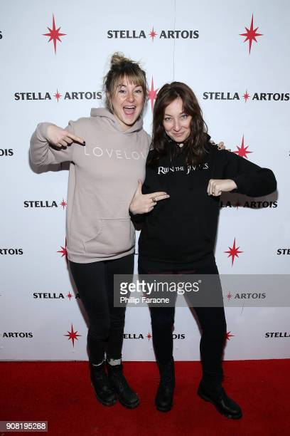 Shailene Woodley and Isidora Goreshter attend the HBO and Live Nation Productions' Believer party in Cafe Artois during the Sundance Film Festival in...