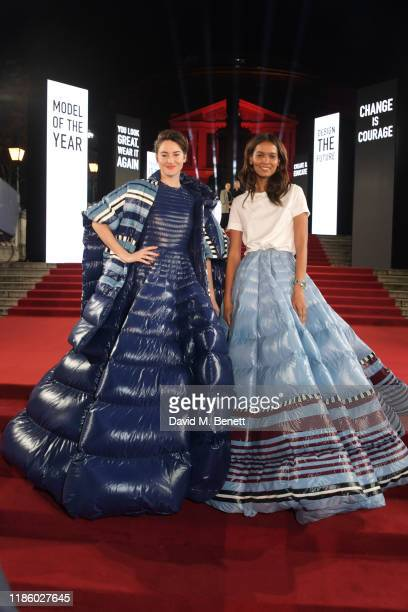 Shailene Woodley and Liya Kebede arrive at The Fashion Awards 2019 held at Royal Albert Hall on December 2, 2019 in London, England.