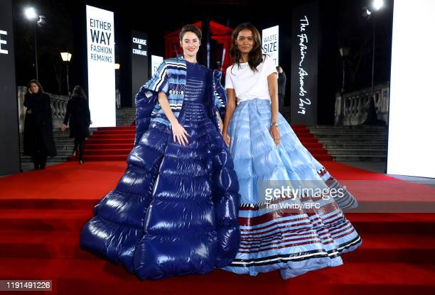 Shailene Woodley and Liya Kebede arrive at The Fashion Awards 2019 held at Royal Albert Hall on December 02, 2019 in London, England.