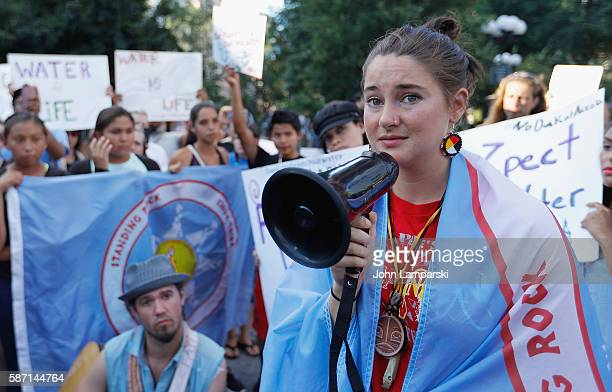 Shailene Woodley and North Dakota Native American children participate in the Stop The Dakota Access Pipeline protest at Union Square on August 7...