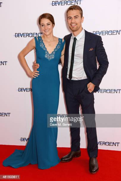 Shailene Woodley and Theo James attend the European Premiere of 'Divergent' at Odeon Leicester Square on March 30 2014 in London England