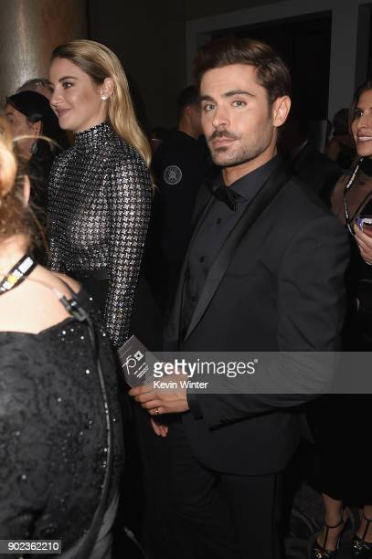 Shailene Woodley and Zac Efron attend a cocktail reception during The 75th Annual Golden Globe Awards at The Beverly Hilton Hotel on January 7 2018...