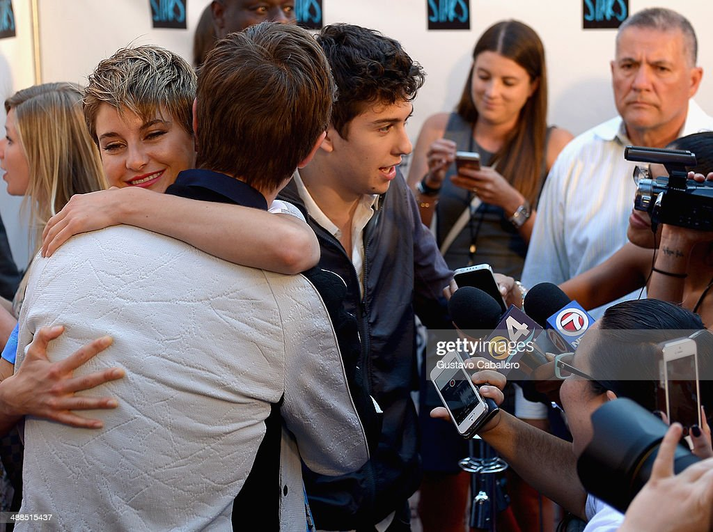 Shailene Woodley, Ansel Elgort and Nat Wolff attend the The Fault In Our Stars Miami Fan Event at Dolphin Mall on May 6, 2014 in Miami, Florida.