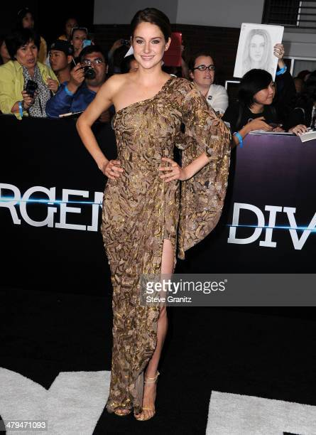 Shailene Woodley arrives at the 'Divergent' Los Angeles Premiere at Regency Bruin Theatre on March 18 2014 in Los Angeles California