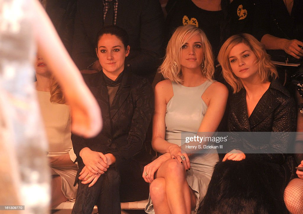 Shailene Woodley, Ashlee Simpson and Leigh Lezark attend Christian Siriano during Fall 2013 Mercedes-Benz Fashion Week at Eyebeam on February 9, 2013 in New York City.