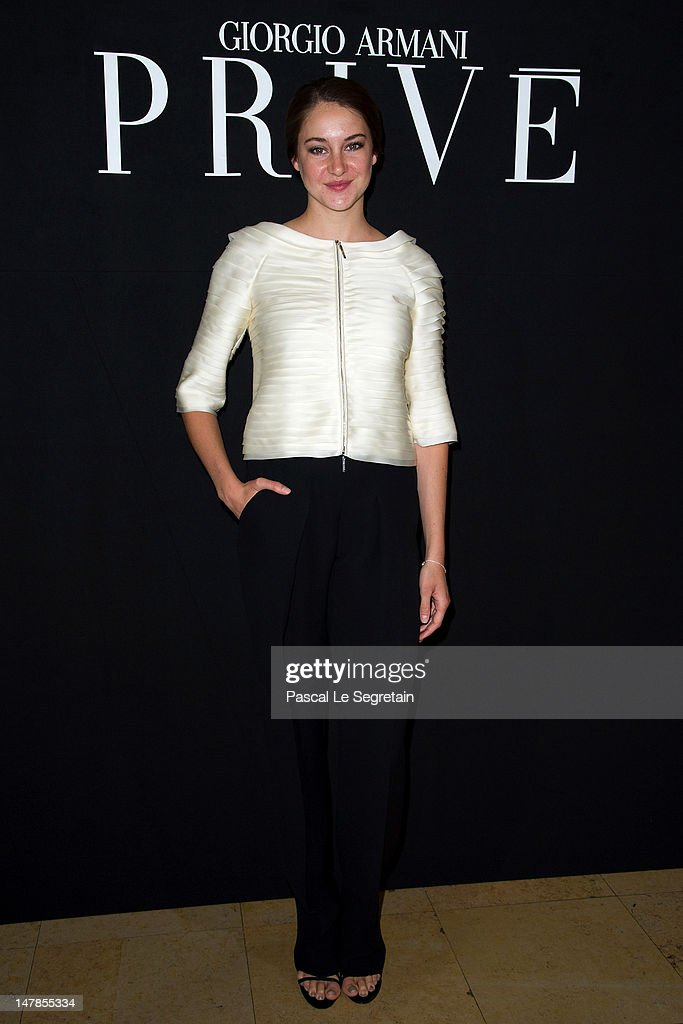 Shailene Woodley attends the Giorgio Armani Prive Haute-Couture show as part of Paris Fashion Week Fall / Winter 2012/13 at Palais de Chaillot on July 3, 2012 in Paris, France.