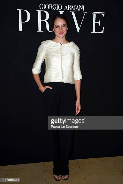 Shailene Woodley attends the Giorgio Armani Prive HauteCouture show as part of Paris Fashion Week Fall / Winter 2012/13 at Palais de Chaillot on July...