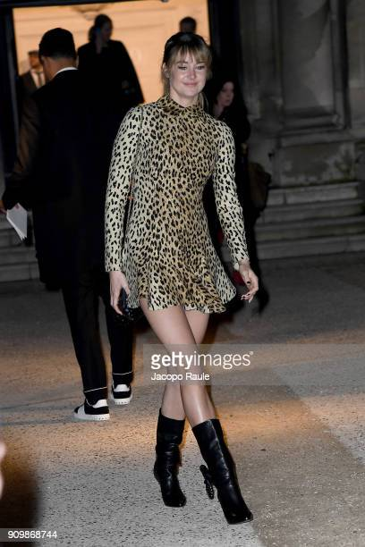 Shailene Woodley is seen arriving at Valentino Haute Couture Spring Summer 2018 show as part of Paris Fashion Week on January 24 2018 in Paris France