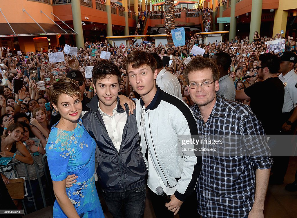 Shailene Woodley, Nat Wolff, Ansel Elgort and John Green attends the The Fault In Our Stars Miami Fan Event at Dolphin Mall on May 6, 2014 in Miami, Florida.
