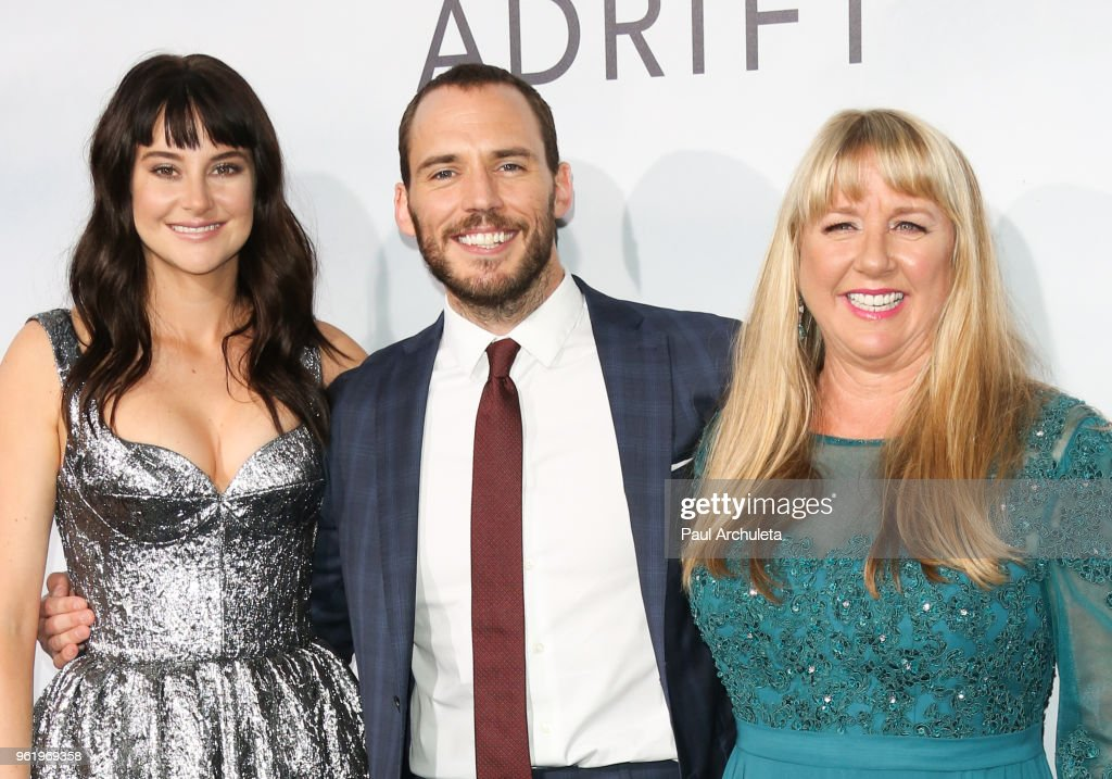 Shailene Woodley, Sam Claflin and Tami Oldham Ashcraft attend the premiere of STX Films' 'Adrift' at Regal LA Live Stadium 14 on May 23, 2018 in Los Angeles, California.