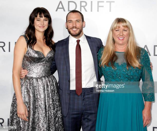 Shailene Woodley Sam Claflin and Tami Oldham Ashcraft attend the premiere of 'Adrift' at Regal LA Live Stadium 14 on May 23 2018 in Los Angeles...
