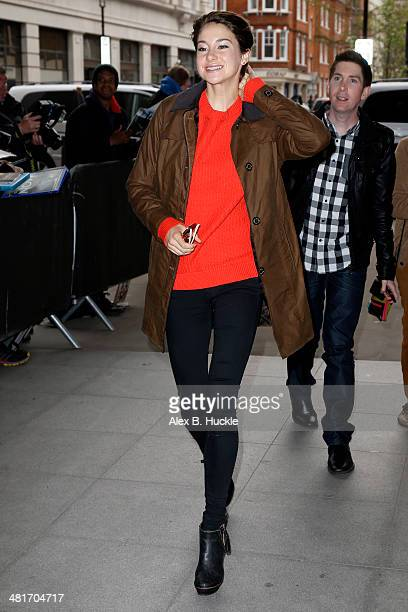 Shailene Woodley sighted arriving at the BBC Radio 1 Studios March 31 2014 in London England