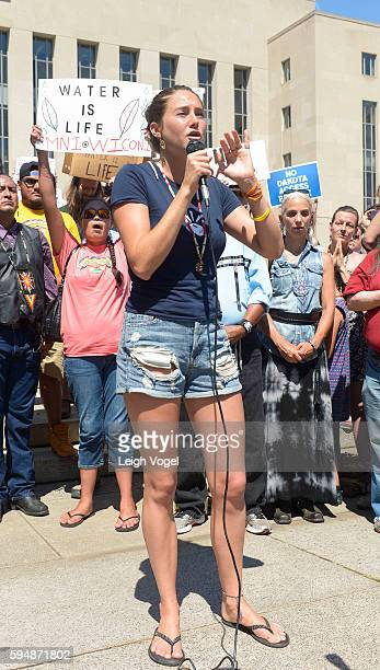 Shailene Woodley speaks during a rally in support of a lawsuit against The Army Corps Of Engineers to protect water and land from The Dakota Access...