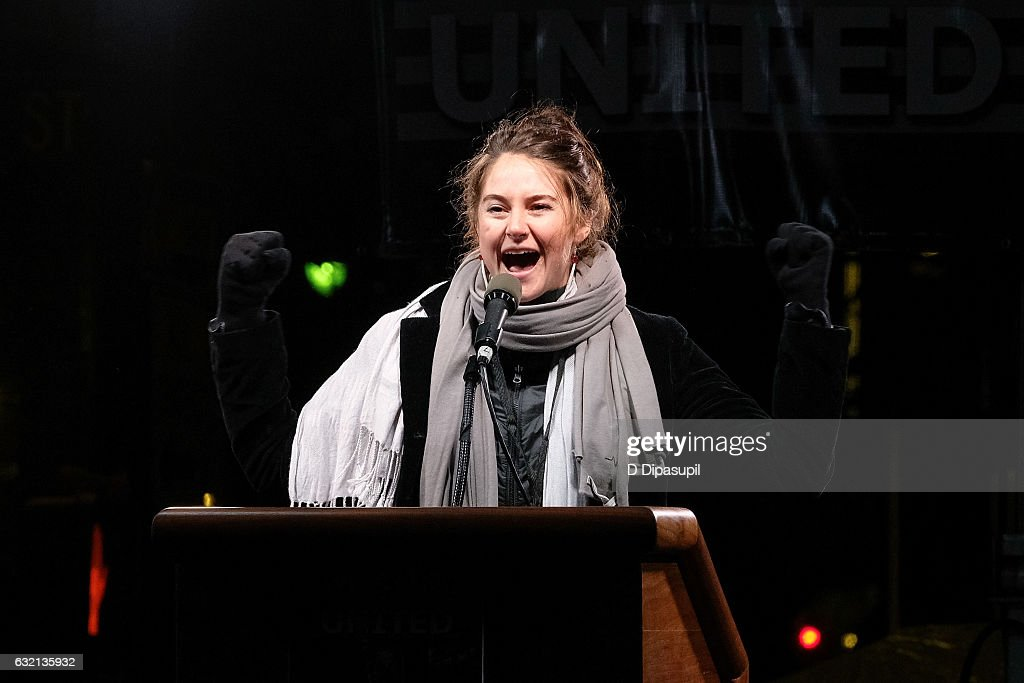 Shailene Woodley speaks onstage during the We Stand United NYC Rally outside Trump International Hotel & Tower on January 19, 2017 in New York City.