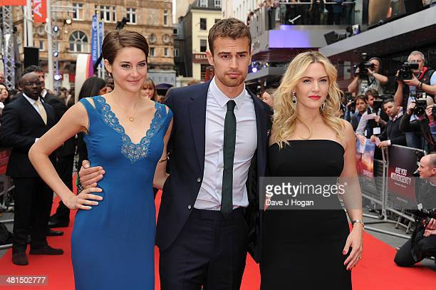 Shailene Woodley Theo James and Kate Winslet attends the European premiere of Divergent at Odeon Leicester Square on March 30 2014 in London England