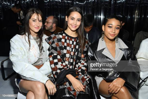 Shailene Woodley Urassaya Sperbund and Amandla Stenberg attend the Louis Vuitton show as part of the Paris Fashion Week Womenswear Spring/Summer 2019...