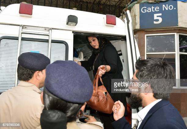 Shaimaa Selim sister of Eman Ahmed inside the ambulance which carries Ahmed to the airport at Cargo Andheri on May 4 2017 in Mumbai India Eman Ahmed...