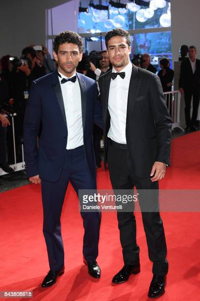 Shain Boumedine and Salim Kechiouche walk the red carpet ahead of the 'Mektoub My Love Canto Uno' screening during the 74th Venice Film Festival at...