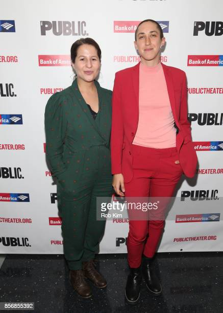"""Shaina Taub and Jo Lampert attend the opening night celebration of """"Tiny Beautiful Things"""" at The Public Theater on October 2, 2017 in New York City."""